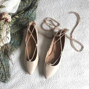 Tanned Ballet Flats Sz 9